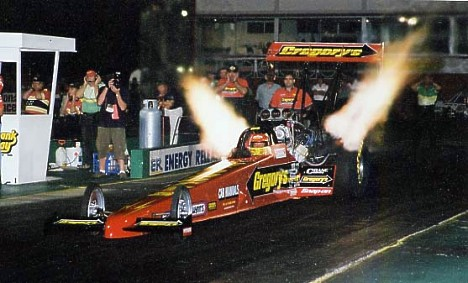 Jim Read launches his Top Fuel car at night! Photo by John Baremans