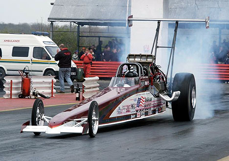 Dave Wilson is the fastest Top Alcohol Dragster outside North America at 5.59. Photo by Tog