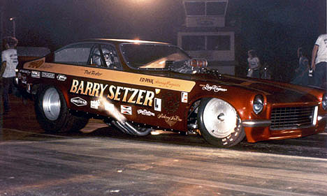 Pat Foster in the Barry Setzer Vega was the baddest fuel funny car of the early '70s. Photo by Buddy Piper