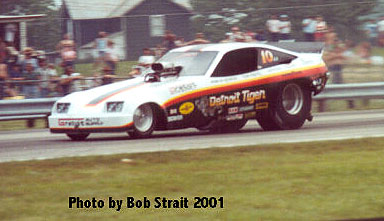 Tom Prock in Poncho Rendon's Detroit Tiger fuel Chevy Monza. Photo by Bob Strait