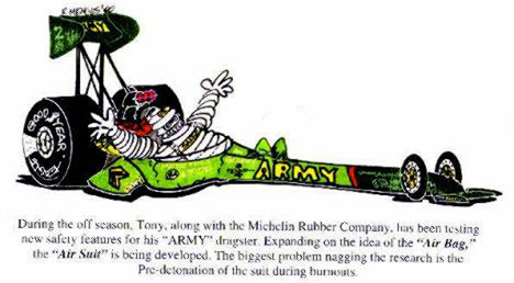 Tony Schumacher tests the new Michelin air suit. Cartoon by Rick Menges