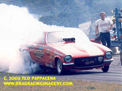 David Ray boils the hides in the Dickie Harrell Chevy Vega Funny Car. Photo by Ted Pappacena