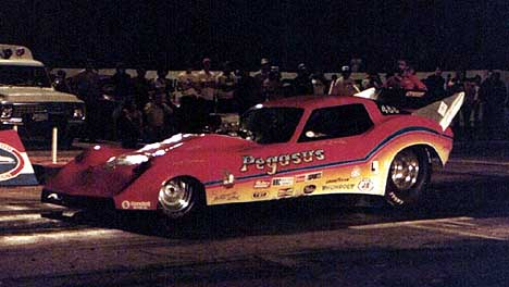Bill Dailey's Pegasus Corvette Fuel Funny Car. Photo by Dennis Roetman