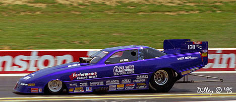 Canadian Jeff Arend made some noise in Paul Smith's fuel funny car in the mid '90s. Photo by Ron Dilley
