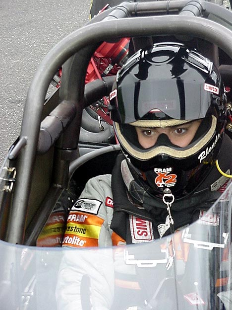 Rhonda Hartman-Smith peers down the quarter mile before another 312 mph assault. Photo by Stephen Jones