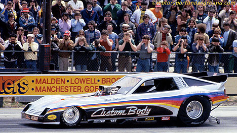 Rick Johnson in the Custom Body Enterprises Dodge Omni. Photo by James Morgan