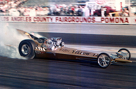 The Yellow Fang smokin' 'em off at LA County. Photo from the Drag Racing Memories Collection