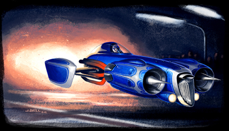 Top Fuel Jet Hovercraft Dragster, Circa 2133. Art by John Bell