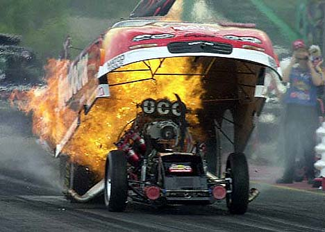 Jim Epler suffered this unbelievable explosion at NHRA St. Louis 2001. Photo by Auto Imagery