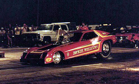 Paul Gordon gets ready to take Dickie Williams Fuel Funny Car on a ride into the night. Photo by Dennis Roetman