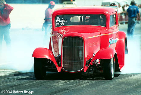 Rich Facciano's A/Gas '32 Ford on a Saturday burnout at Sears Point. Rich won the event. Photo by Robert Briggs