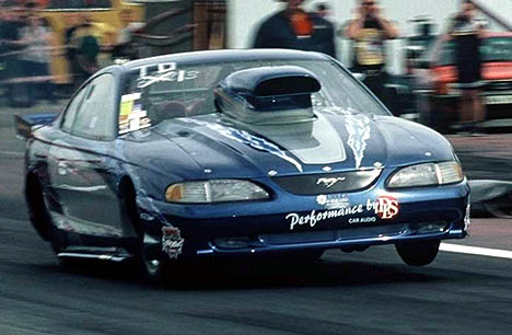 Roger J campaigns this 700 ci nitrous Pro Mod Ford in Sweden. Photo by Hasse Karlsson