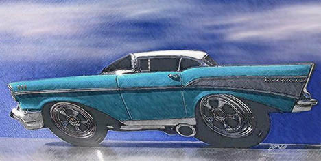 The venerable '57 Chevy, as imagined by our own Gonzo. Art by Ralph Crosby