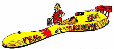 "Connie Kalitta's New ""Golden King Pin"" dragster? Cartoon by Rick Menges"