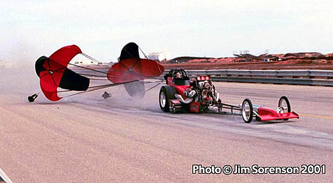 Dale Pulde brakes to a stop at the 2001 March Meet. Photo by Jim Sorenson