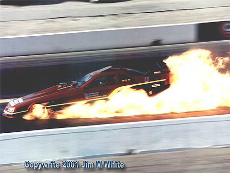 Gary Densham lights up his independent fuel Beretta at Pomona '92. Photo by Jim White