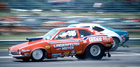 John Lingenfelter's Ford Pinto has a fender on one of the AMC machines in 1974. Photo by Peter Kumble