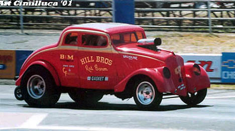 "The Hill Bros. '33 Willys gasser has got ""the look."" Photo by Art Cimilluca"