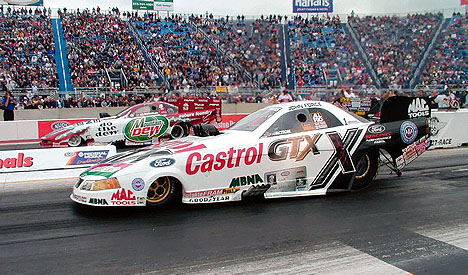 The funny car final at Joliet was one of the quickest side by siders in history. Photo by Lee Ecker
