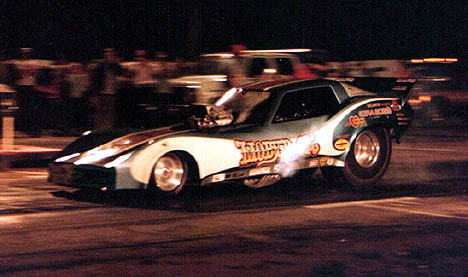 "The hard running Moby Dick machine helped to break the ""Corvette Curse"" in funny car racing. Photo by Dennis Roetman"
