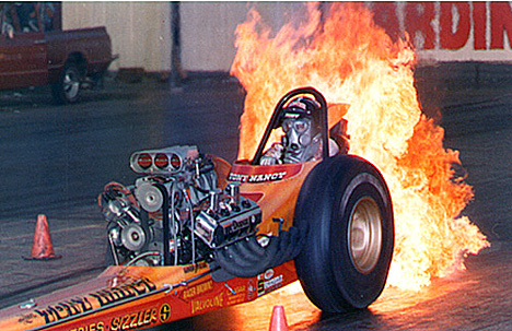 Tony Nancy's cars always looked and ran great and he was a heck of a showman, too! Photo courtesy of Drag Racing Memories