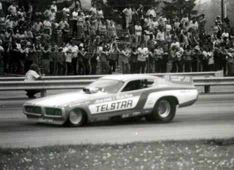 Charlie Proite's Telstar Charger backs up in front of an appreciative crowd at Dragway 42. Photo by Bob Strait