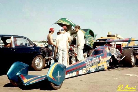 Bel Ray Streamliner Dragster at Santa Pod Early 70s. Anne Valder photo