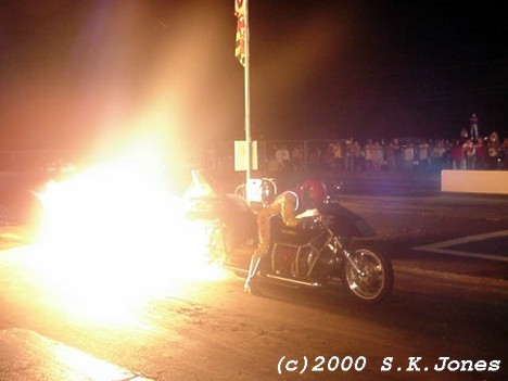 Flame on! Bob Correll and JetBike kick out the sparks! Photo by Stephen Jones