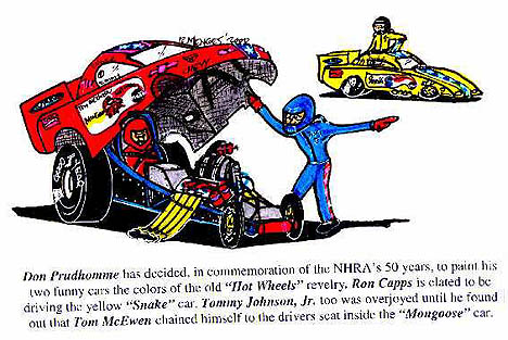 No joke -- it would have been cool to bring the Hot Wheels cars back for 2001. Cartoon by Rick Menges