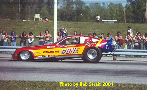 Roger Lindamood went to the Chevy Monza body in the mid-'70s with this colorful entry. Photo by Bob Strait