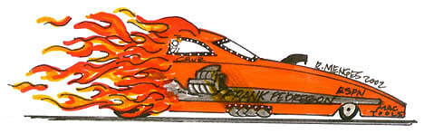 Cruz Pedregon was happy to give up the Flaming Frank paint design for obvious reasons. Cartoon by Rick Menges