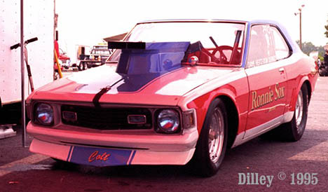 The restored Ronnie Sox Pro Stock Dodge Colt looking great in 1995. Photo by Ron Dilley