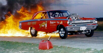 Brian Kohlmann fire burnout. Photo by Pete Orres