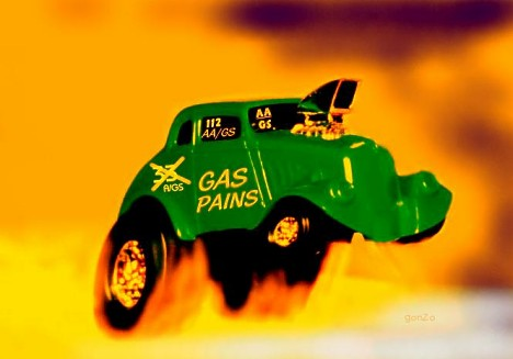 Gas Pains and Fire Burnouts! Photo art by Gonzo