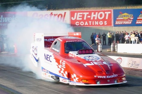 Gary Densham's slick new 2001 Firebird smokes 'em off at the Keystones. Photo by Greg Gage