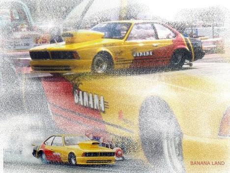 Top Banana! This is how to race a BMW. Photo art by Gonzo