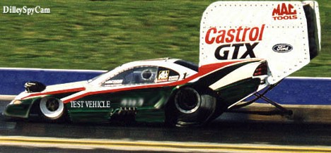 Top secret John Force test session, 1999. Photo art by Ron Dilley