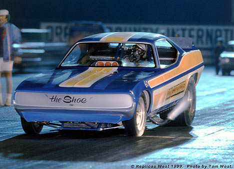 Don Schumacher ready to rock in his Cuda Funny Car under the lights at OCIR. Photo by Tom West