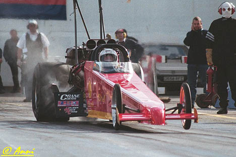 Doug Bond's European Top Methanol Dragster launches hard. Photo by Anni Valder