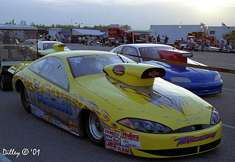 Gene Wilson drove the Charles Hunt Pro Stock Cougar to the 2001 IHRA World Championship. Photo by Ron Dilley