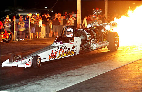 Jim Medley warms up the fans in Epping with the Jet Stream dragster. Photo by James Morgan