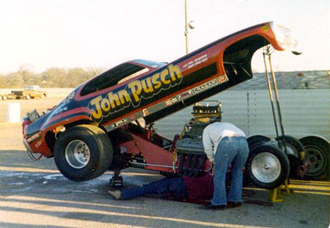 John Pusch was one of the Southwest's top match race funny cars in the mid-'70s. Photo by Jim White