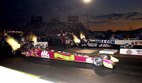 Shirley Muldowney faces off with Garlits. She ran best ever numbers to make the Indy field. Photo by Auto Imagery