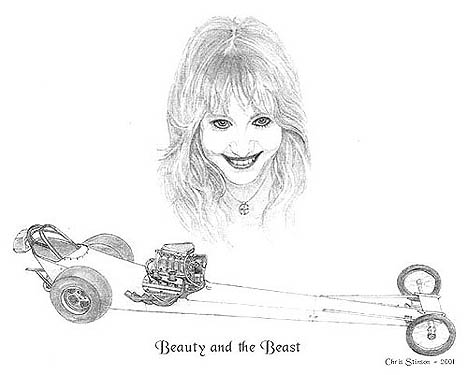There's nothing finer in this world than beautiful women and front engine dragsters! Pencil art by Chris Stinson