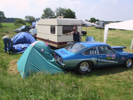 Oops. Willie's Vega rolled backwards off a trailer and claimied a tent for its own. Photo thanks to Willie Reerink