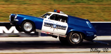 Bob Hall in the Paddy Wagon has more quarter mile passes on it than 99.9 percent of the drag cars in history. Photo by Ron Dilley
