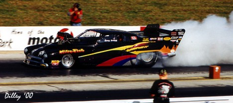 "Gary Irving and his ""Nitro Fish"" Nitro Coupe was the latest victiim of fire in drag racing. Photo by Ron Dilley"