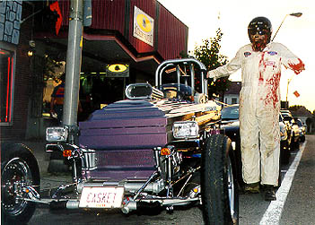 An altercation with the 'Mad Golfer' forces Rick Howard to drive the Casket Wagon. Photo by Rick Howard