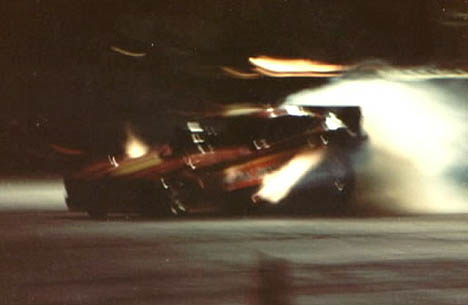 The Luppy, Westerlund, and Wing Mustang II fuel funny car is a blur of light and sound at SIR. Photo by Ralph Reiter