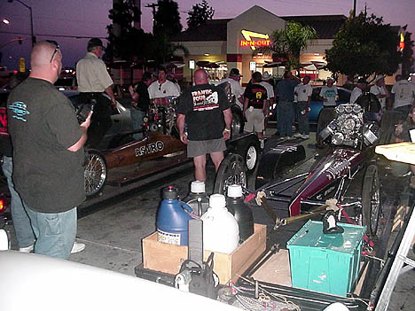The Pitts and Anderson teams get ready to fire the Magicar and Vagabond for the faithful at the In-n-Out. Photo by Tim Pratt